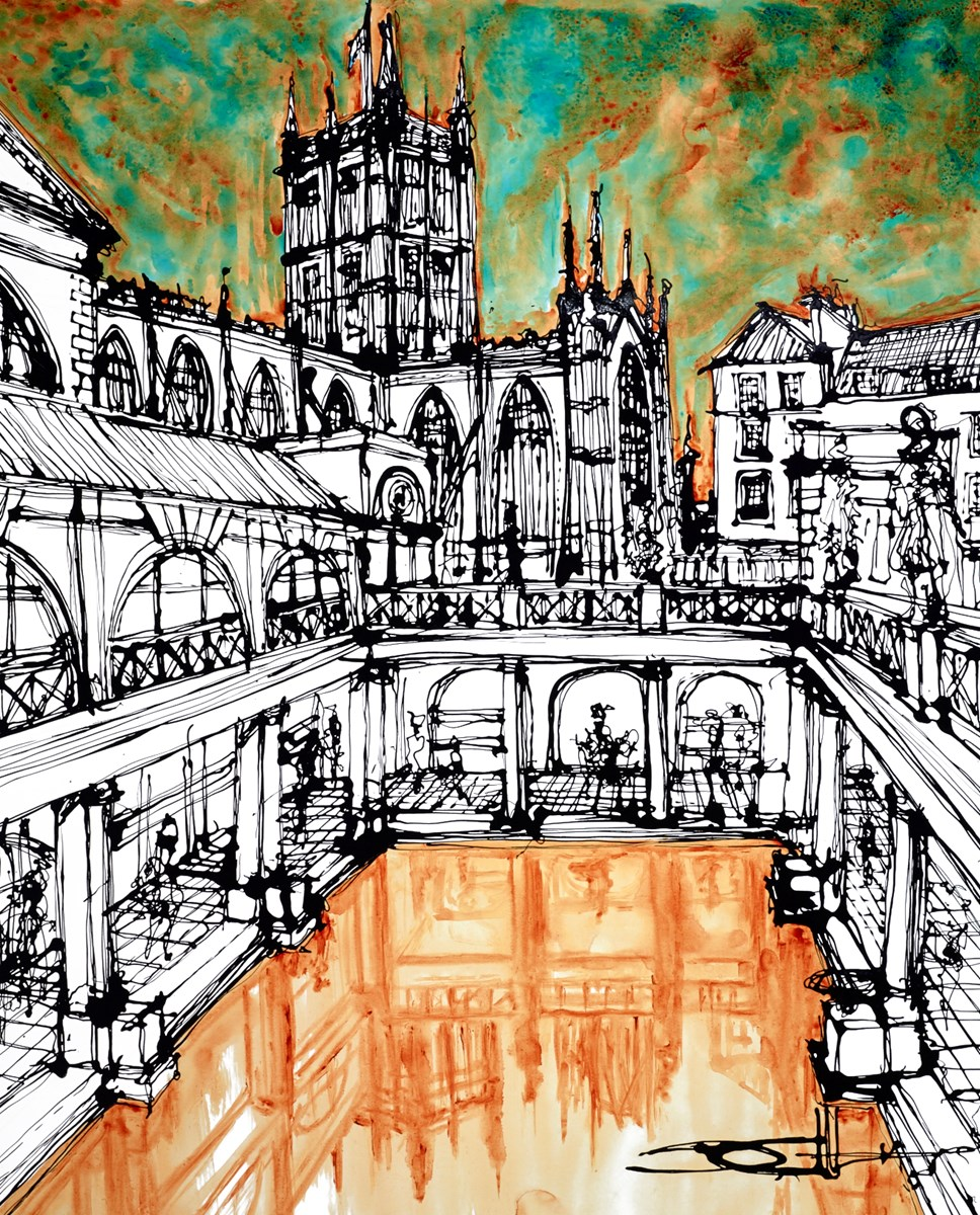 The Abbey Above the Baths by ingo -  sized 35x43 inches. Available from Whitewall Galleries